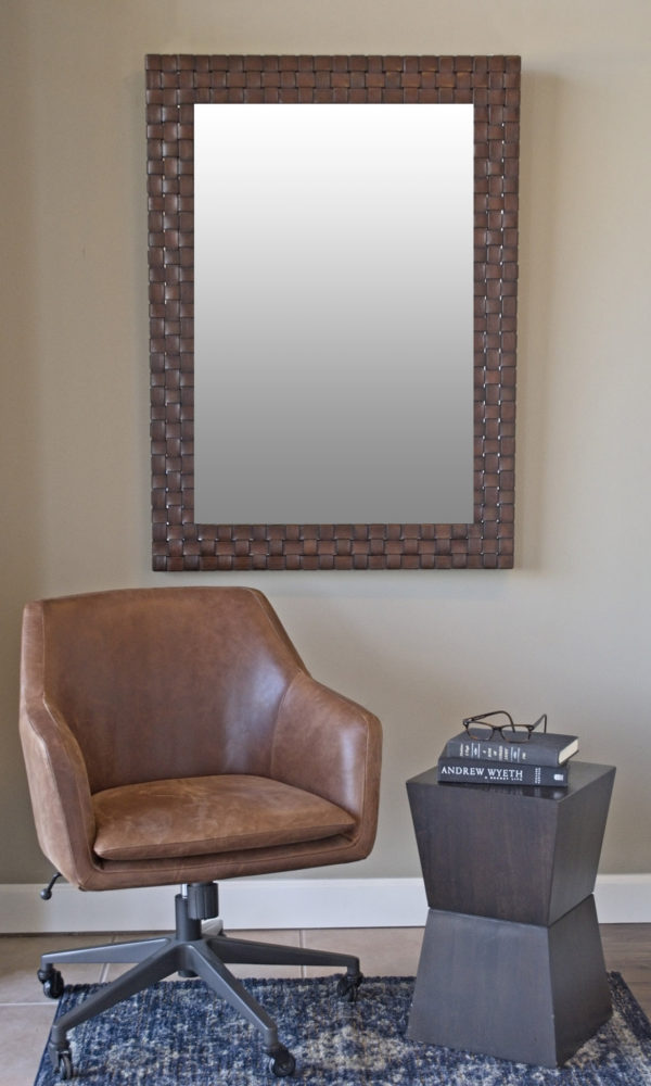 calusa gallery, custom mirrors, leather braided mirror